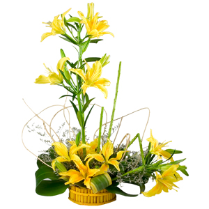 Special Arrangement of  5 Stem Yellow Lilies to India.