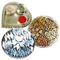 Silver Plated Paan Shaped Puja Aarti Thali (weight 52 gms) with Assorted Dry fruits with Haldiram Kaju Katli