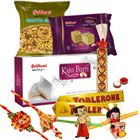 <font color=#FF0000>Haldiram</font>s Ambrosial Assortment with 1 Set Bhaiya Bhabi Rakhi, 2 Kids Rakhi and Roli Tilak Chawal