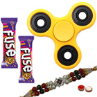 Majestic Cosset Assortment of Fidget Hand Spinner, Cadbury Chocolate and Designer Rakhi and Roli Tilak Chawal